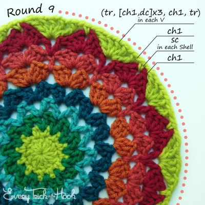 Marigold crochet afghan block pattern photo tutorial round 9