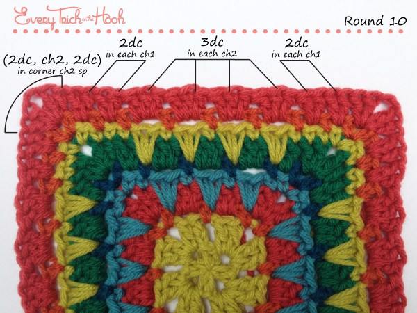 Spiked Punch crochet afghan block pattern photo tutorial round 10