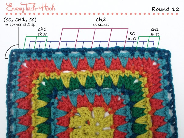 Spiked Punch crochet afghan block pattern photo tutorial round 12