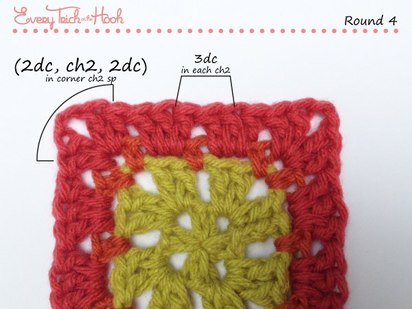 Spiked Punch crochet afghan block pattern photo tutorial round 4