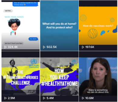 screenshot of world health organization TikTok feed