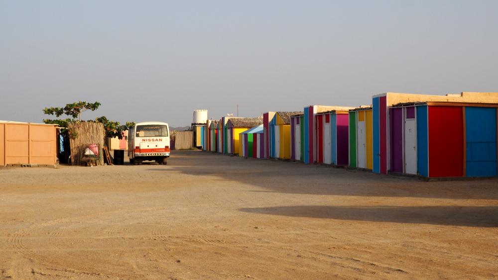 Blick auf das Masirah Beach Camp im Oman