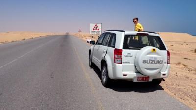 Straße in der Wahiba Sands im Oman