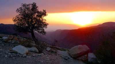 Sonnenuntergang am Wadi Dana