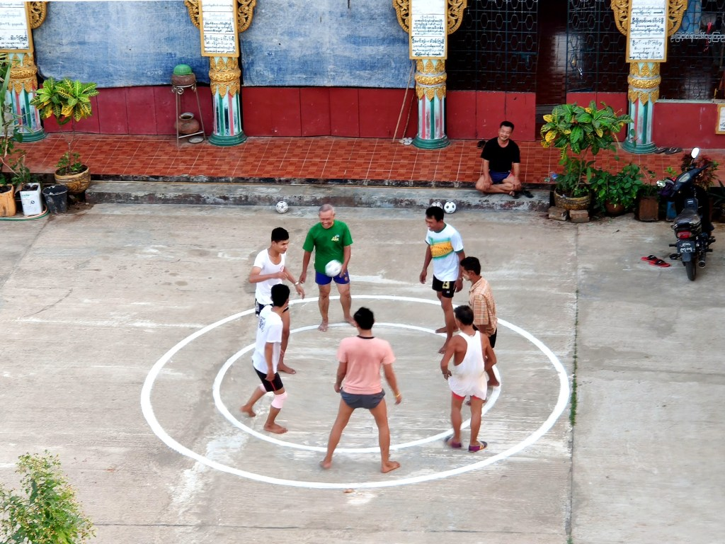People playling Chinlone in Bago, Myanmar