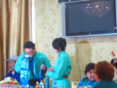 Nathan and Suvdaa on their wedding day.