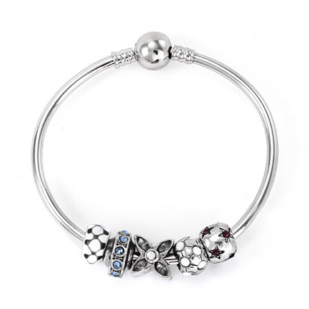 Pandora Charm Compatible Bangle Bracelet With Barrel Clasp