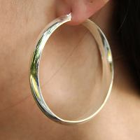 Bangle 2.25 Inch Hoop Silver Earrings | Eve's Addiction