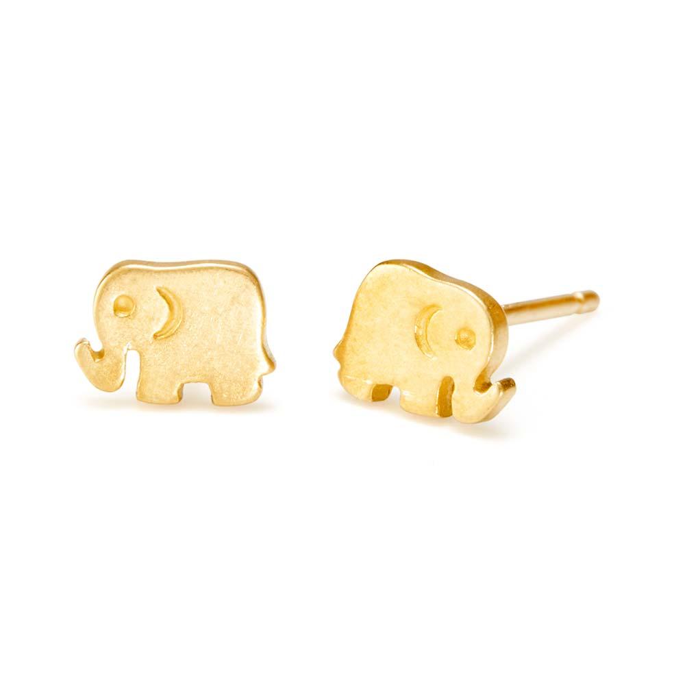 Dogeared It's The Little Things Elephant Gold Earrings