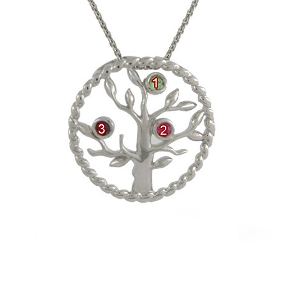3 Stone Silver Custom Birthstone Family Tree Pendant
