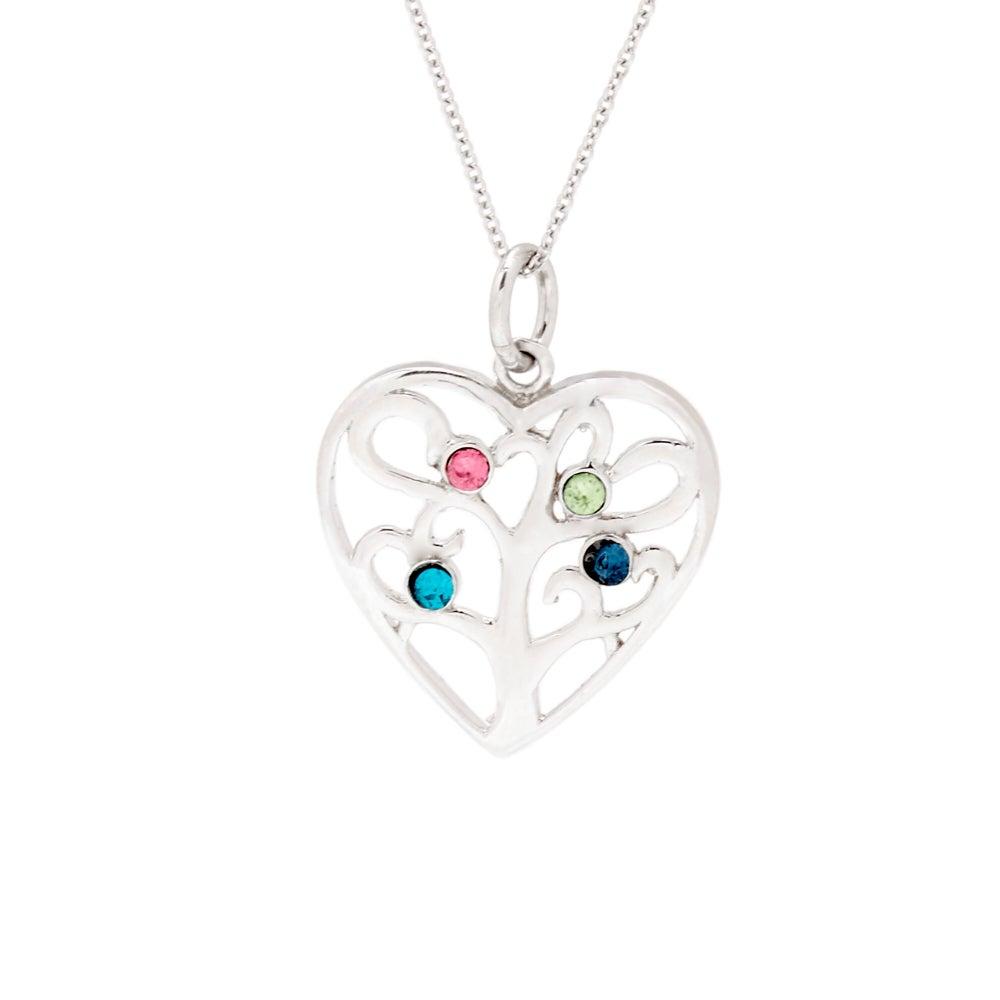 4 Stone Custom Birthstone Heart Family Tree Pendant