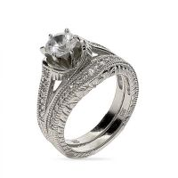 Vintage 6 mm CZ Wedding Ring Set in Sterling Silver | Eve ...
