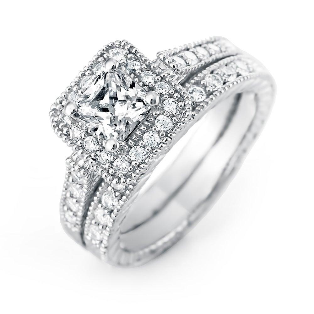 Princess Cut Halo CZ Wedding Ring Set