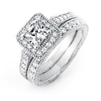 Princess Cut Halo CZ Wedding Ring Set | Eve's Addiction