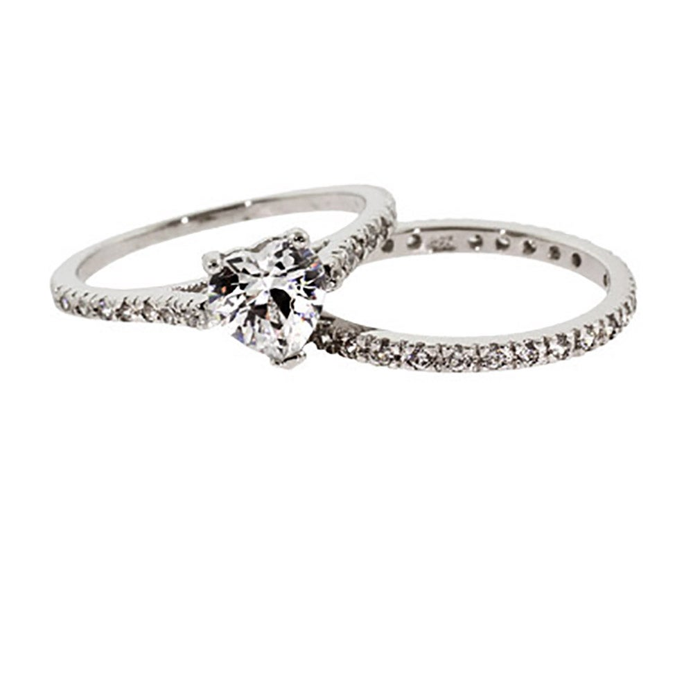Heart Shaped CZ Engagement Ring Set in Sterling Silver