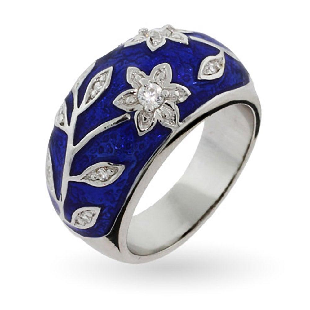 Royal Blue Enamel Ring With Vintage Cz Flower Design  Eve