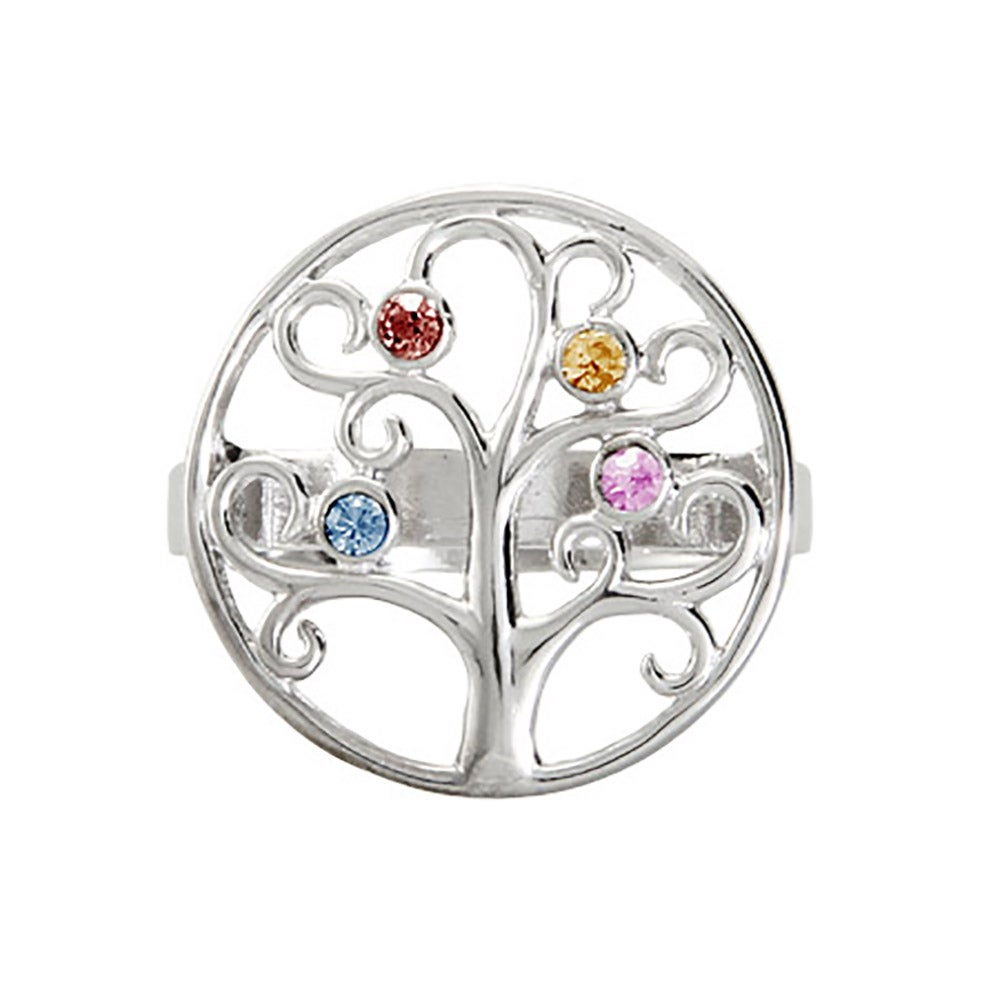 Custom 4 Birthstone Family Tree Ring in Sterling Silver