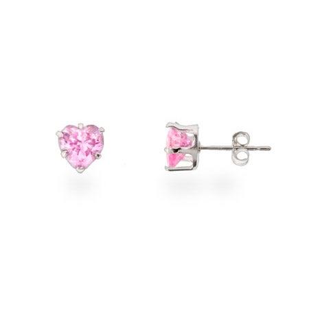 Pink Cubic Zirconia Heart Shaped Silver Stud Earrings