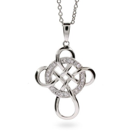 Wheel of Being CZ Celtic Infinity Cross Pendant