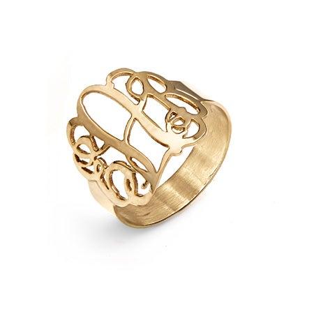 Fancy 14K Gold Script Monogram Ring