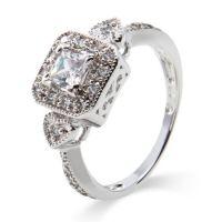 Deco Style Princess Cut CZ Promise Ring | Eve's Addiction