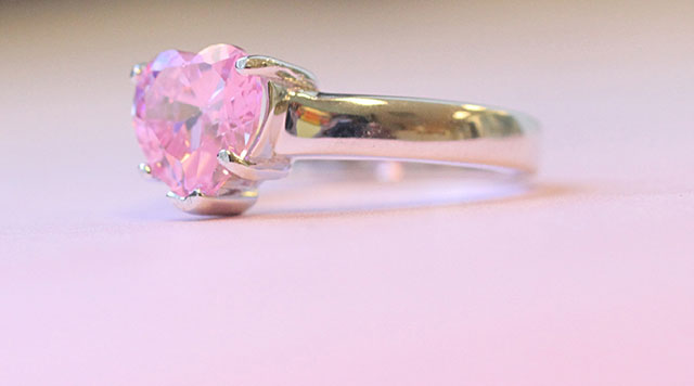Single Birthstone Heart Promise Ring in Pink