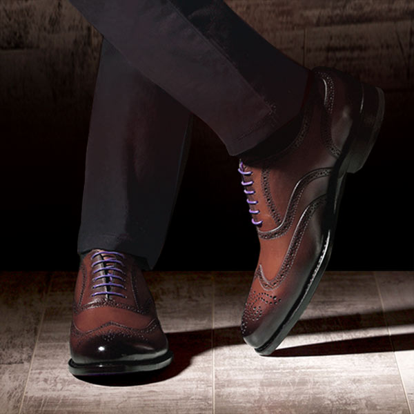Burnished Dark Brown Italian Leather Brogue Goodyear Welted - Vickers 2