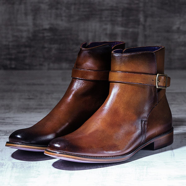 Burnished Tan Italian Leather Strapped Boot - Javelin 3