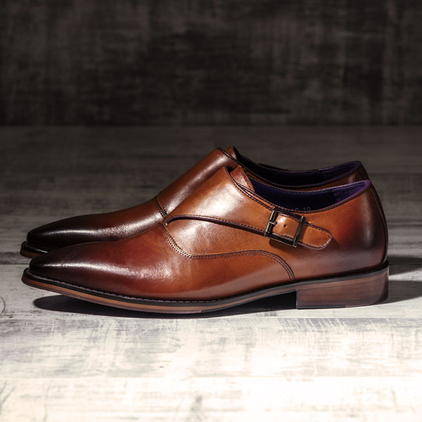 Burnished Italian Tan Leather uppers with Single Monkstrap - Luscombe 4