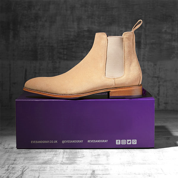 Italian Suede Leather Sandstone Chelsea Boot - Atlas 1