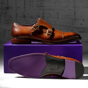 Tan leather monkstrap with burnished toecap - Batwing 1