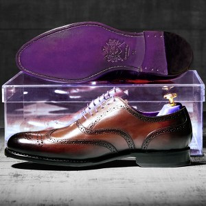 Burnished Dark Brown Italian Leather Goodyear Welted Brogue - Vickers 1