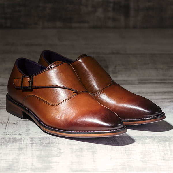 Burnished Italian Tan Leather uppers with Single Monkstrap - Luscombe 2