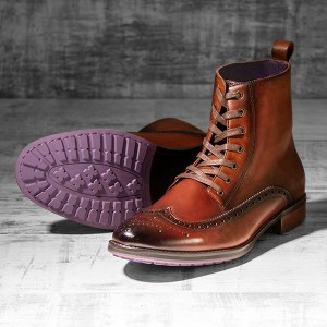 Burnished Tan Italian Leather Brogue Boot - Stearman 1