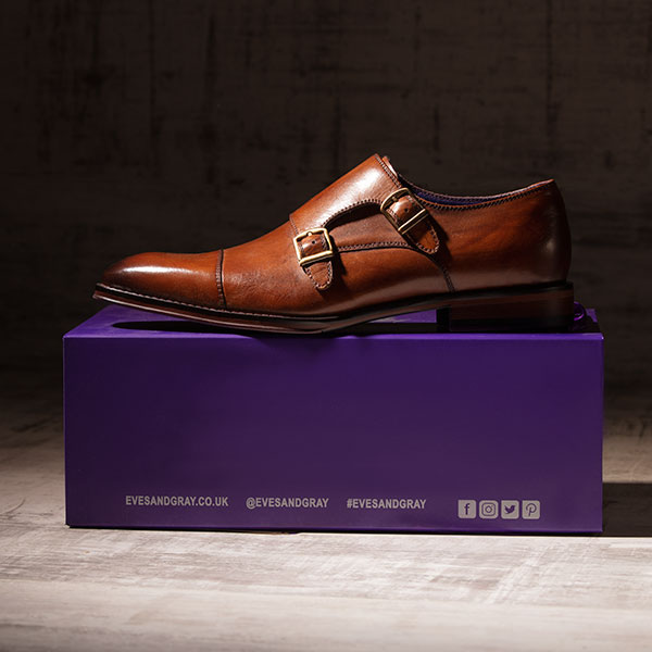 Tan leather monkstrap with burnished toeca -Batwing 4