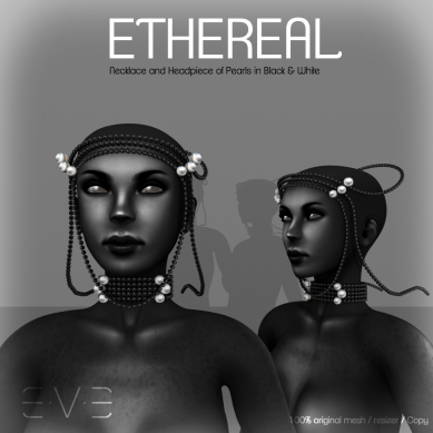 E.V.E ETHEREAL Necklace and Headpiece of Pearls Black and White