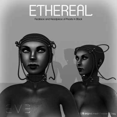 E.V.E ETHEREAL Necklace and Headpiece of Pearls Black