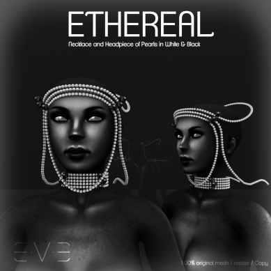 E.V.E ETHEREAL Necklace and Headpiece of Pearls White and Black