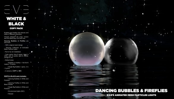 E.V.E {V} Dancing Bubbles and Fireflies {White and Black Pack}