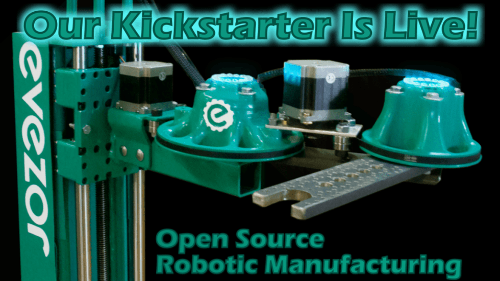 Evezor robotic arm with live kickstarter tag