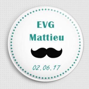 20 badges personnalisés EVG moustache