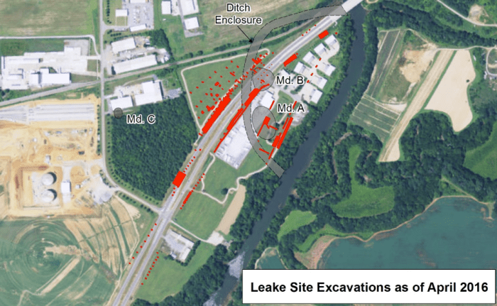 Figure 8. Map Showing Location of Excavations at the Leake Site