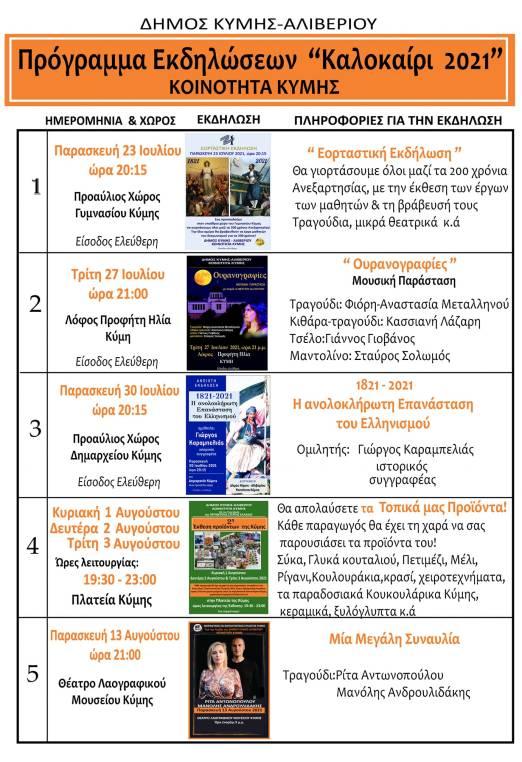 Πρόγραμμα καλοκαιρινών εκδηλώσεων στην Κύμη