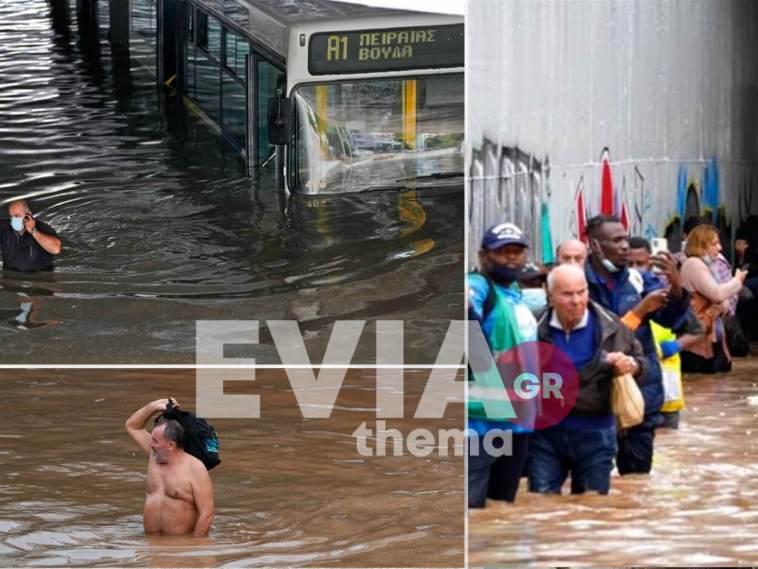 """""""Μπάλλος"""": Λεωφορείο εγκλωβίστηκε σε πλημμυρισμένη γέφυρα"""