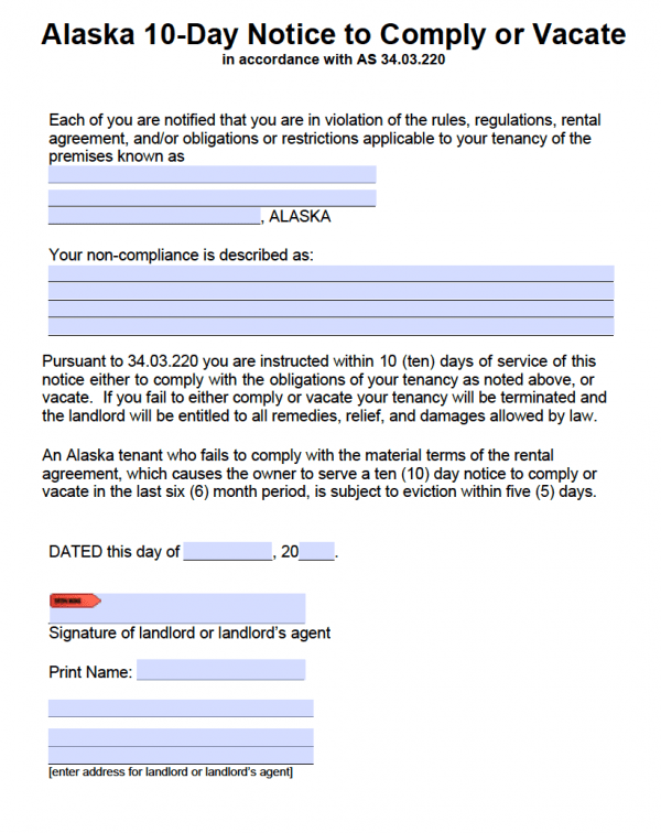 Free Alaska 10 Day Notice To Comply Or Quit Pdf