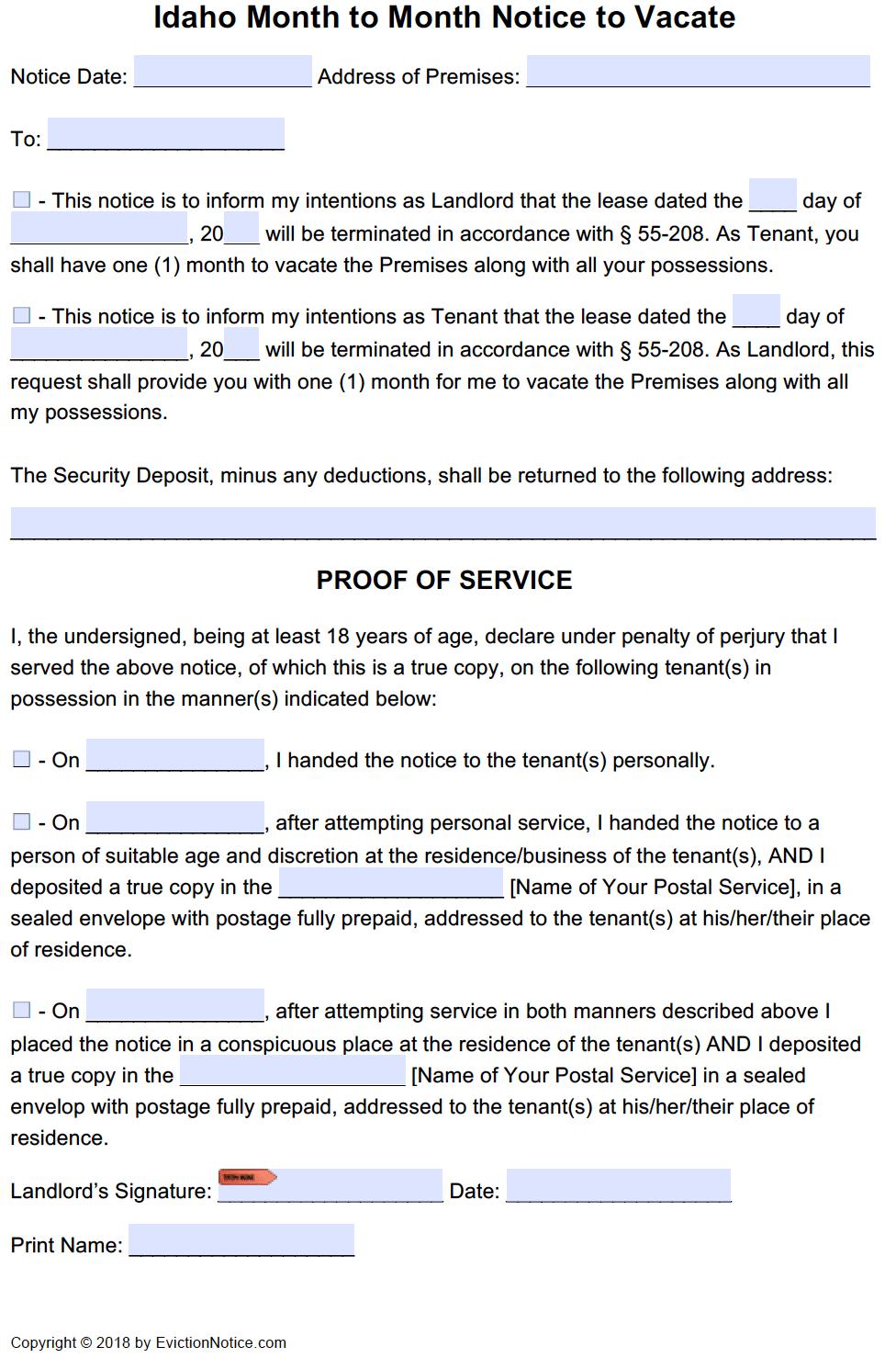 Free Idaho Eviction Notice Templates Id Eviction Process