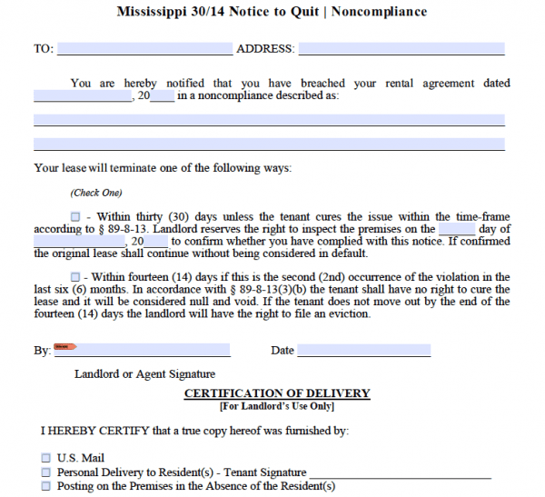 Free Mississippi 30 14 Day Notice To Comply Or Quit Non