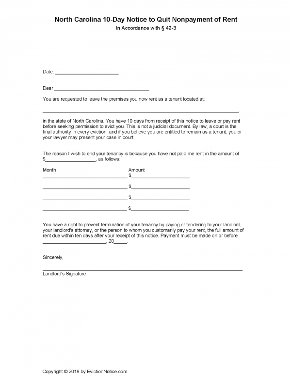 North-Carolina-10-Day-Notice-to-Quit-Nonpayment-of-Rent-600x776  Day Demand Letter Template Texas on california dealership, for vehicle payment texas, template maryland, template return auto mobile, template steps, for stolen property texas, sample template property fl,