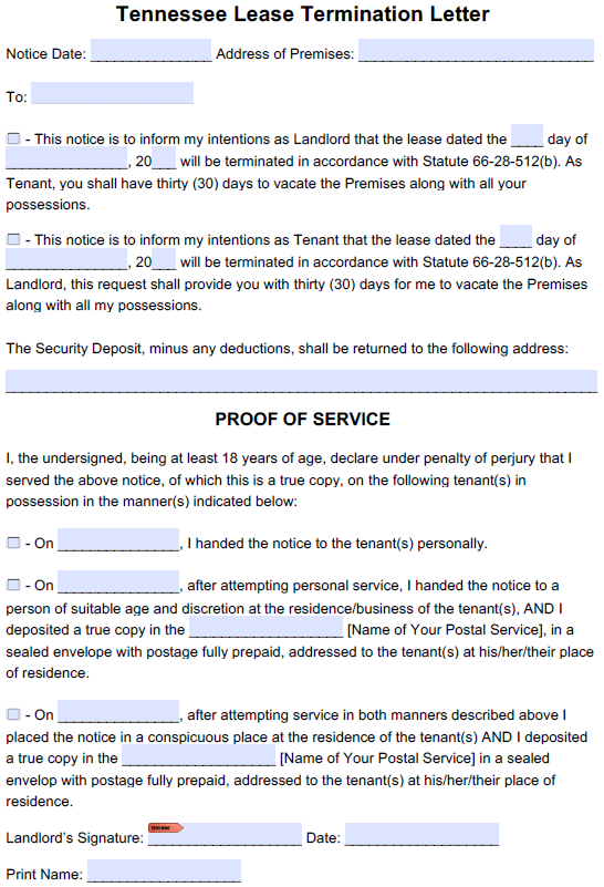 free tennessee 30 day lease termination letter