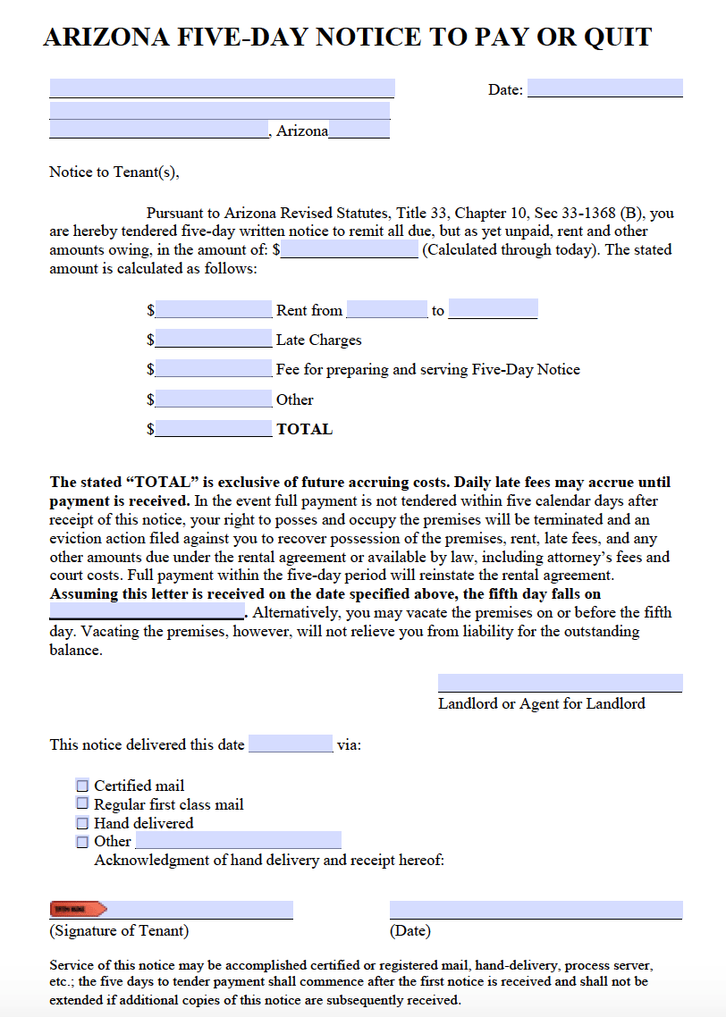 Free Arizona 5 Day Notice To Pay Or Quit PDF